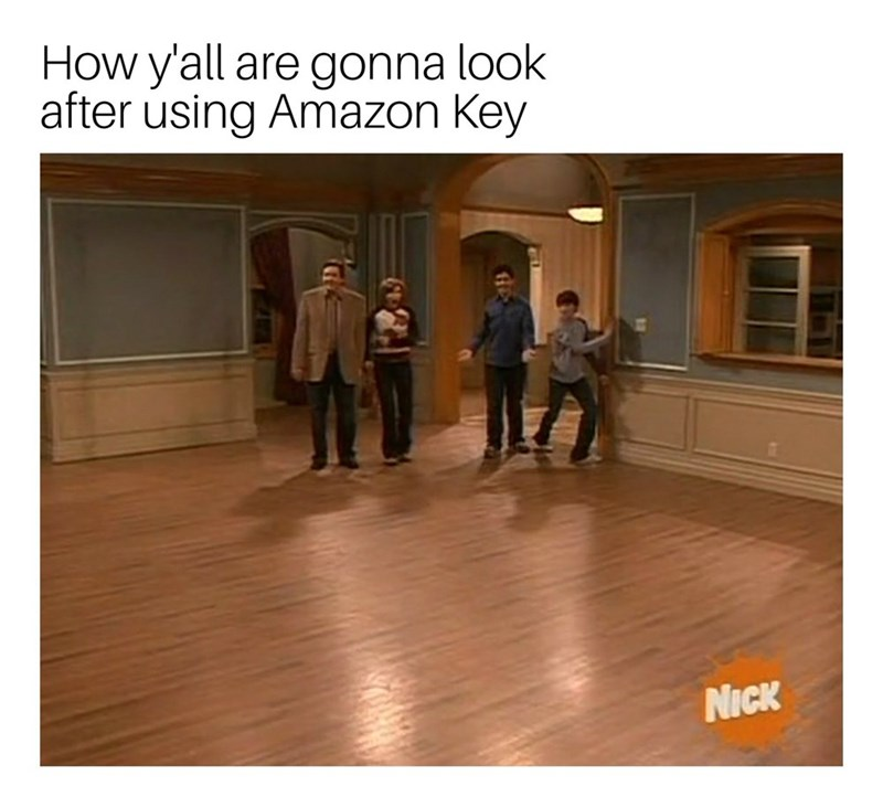 "Caption that reads, ""How y'all are gonna look after using Amazon Key"" above a still from Drake and Josh where all of their living room furniture has been moved out of the house"