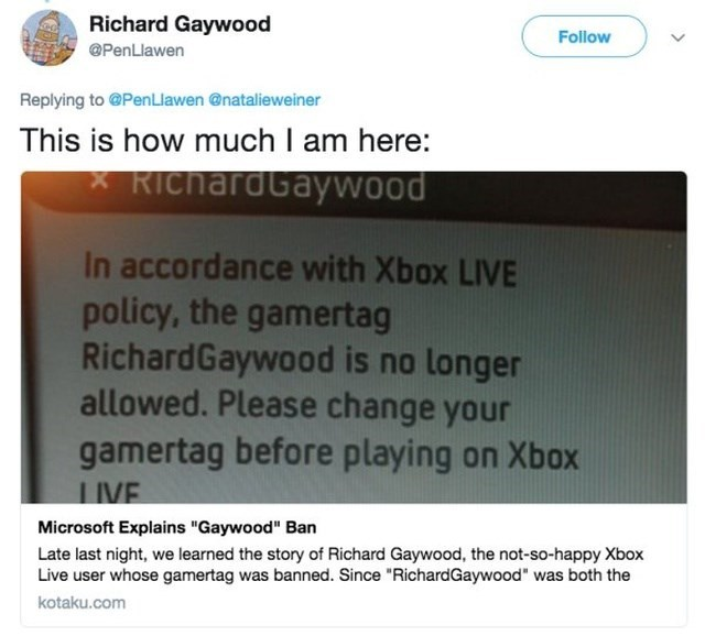 """funny name - Text - Richard Gaywood Follow @PenLlawen Replying to @PenLlawen @natalieweiner This is how much I am here: RichardGaywOod In accordance with Xbox LIVE policy, the gamertag RichardGaywood is no longer allowed. Please change your gamertag before playing on Xbox IVE Microsoft Explains """"Gaywood"""" Ban Late last night, we learned the story of Richard Gaywood, the not-so-happy Xbox Live user whose gamertag was banned. Since """"RichardGaywood"""" was both the kotaku.com"""