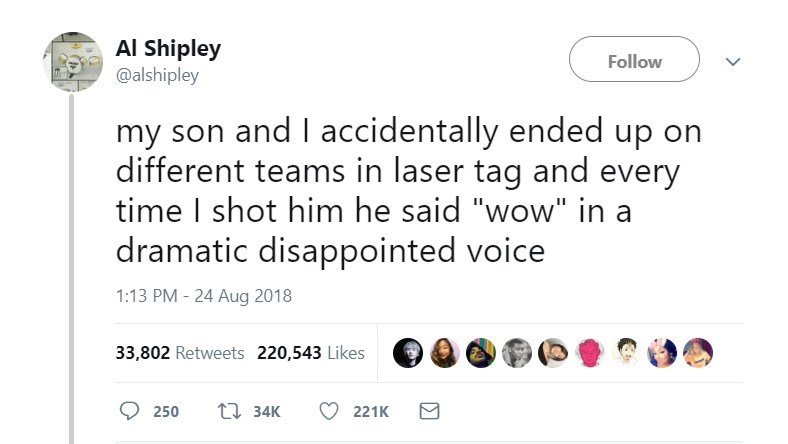 """Text - Al Shipley @alshipley Follow my son and I accidentally ended up on different teams in laser tag and every time I shot him he said """"wow"""" in a dramatic disappointed voice 1:13 PM - 24 Aug 2018 33,802 Retweets 220,543 Likes t34K 250 221K"""