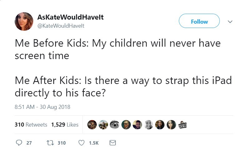 Text - AsKateWould Have lt Follow @KateWouldHavelt Me Before Kids: My children willl never have screen time Me After Kids: Is there a way to strap this iPad directly to his face? 8:51 AM -30 Aug 2018 310 Retweets 1,529 Likes NSEW ti 310 27 1.5K