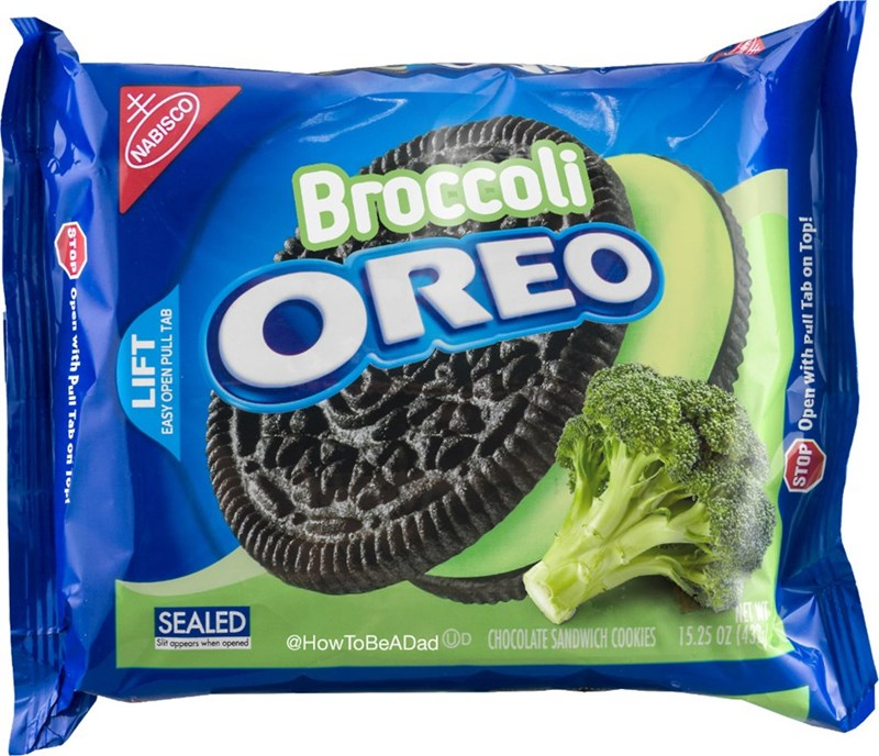 Oreo - Broccoli OREO SEALED Sit appears when opened @HowToBeADadOD CHOCOLATE SANDWICH COOKIES 15.25 0Z (43 STOP NABISCO Open with Pul Tab o LIFT EASY OPEN PULL TAB STOP Open with Pull Tab on Top!