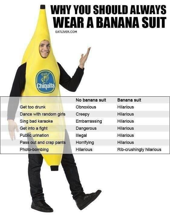 Pic of a guy wearing a banana suit with an explanation as to why you should always wear a banana suit