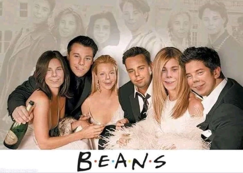 Promotional pic of the Friends tv show with Beans from Even Stevens' face photoshopped into every character's face