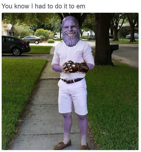 You know I had to do it to em meme with Thanos and the Infinity Gauntlet