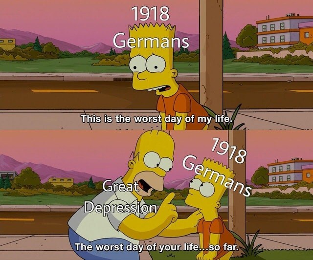 Funny simpsons meme about europe, germans, depression, homer simpson, bart simpson.