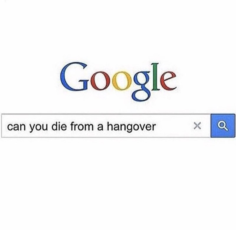 thirsty thursday meme about googling if you can die from a hangover