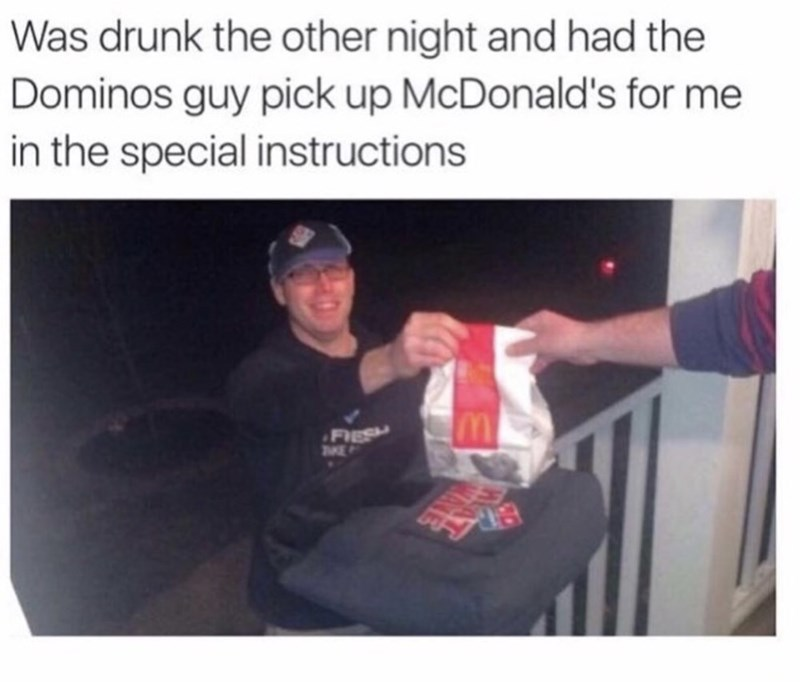 thirsty thursday meme about asking a delivery guy to pick up food from a different restaurant