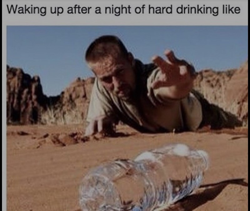thirsty thursday meme about needing water the day after drinking