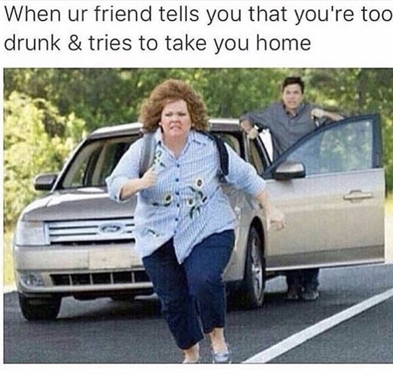 thirsty thursday meme about running away from your friend when you are drunk