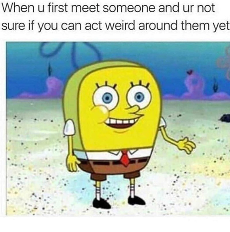 """Caption reads, """"When you first meet someone and you're not sure if you can act weird around them yet"""" above a pic of Spongebob without holes"""