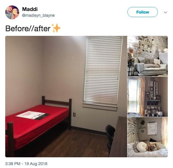 Original tweet featuring a tiny dorm room that gets transformed into a beautiful living space