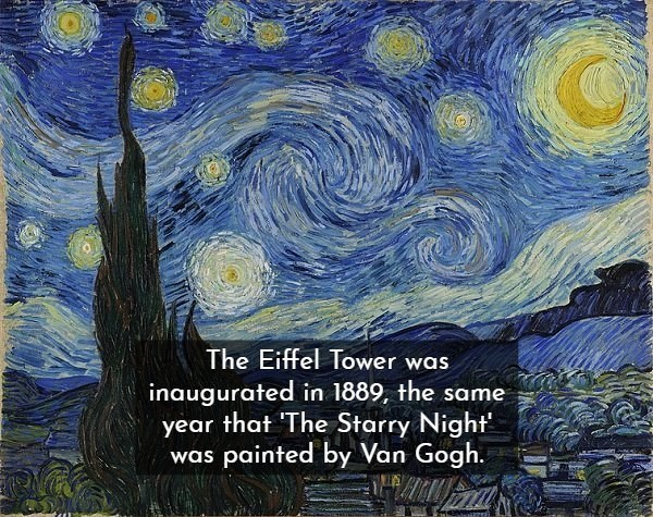Painting - The Eiffel Tower was inaugurated in 1889, the same year that The Starry Night was painted by Van Gogh.