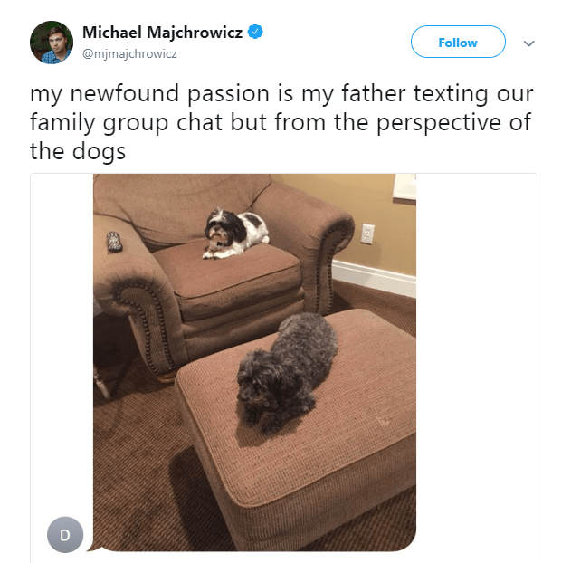 Product - Michael Majchrowicz Follow @mjmajchrowicz my newfound passion is my father texting our family group chat but from the perspective of the dogs