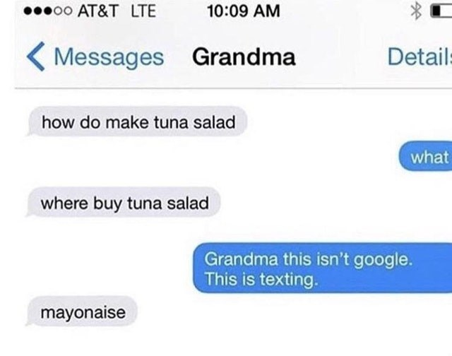 Text - oo AT&T LTE 10:09 AM Messages Grandma Detail how do make tuna salad what where buy tuna salad Grandma this isn't google. This is texting. mayonaise