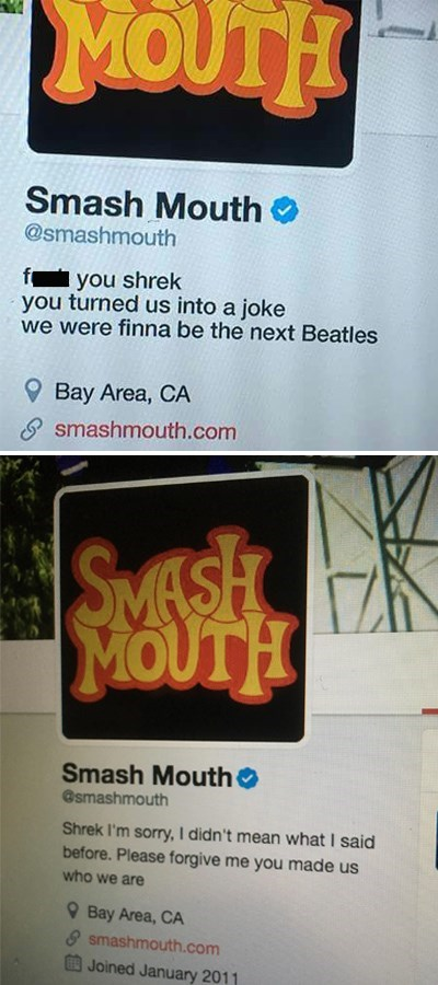 """Smash Mouth Twitter bio that reads, """"f*ck you Shrek, you turned us into a joke. We were finna be the next Beatles;"""" bio below reads, """"Shrek, I'm sorry, I didn't mean what I said before. Please forgive me you made us who we are"""""""