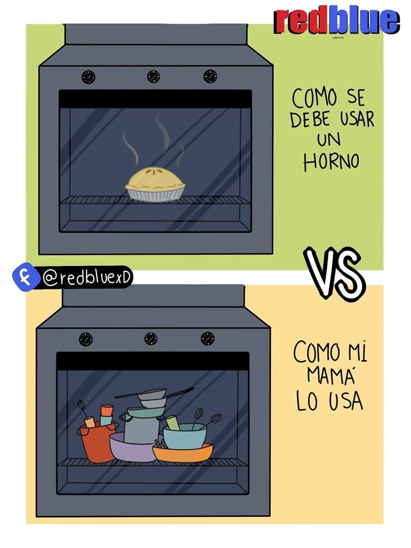 vineta que muestra la verdadera utilidad del horno