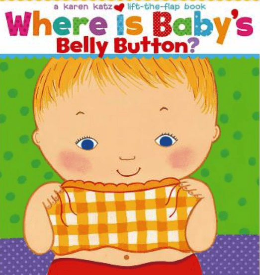 picture of book cover baby holding up shirt where is baby's belly button
