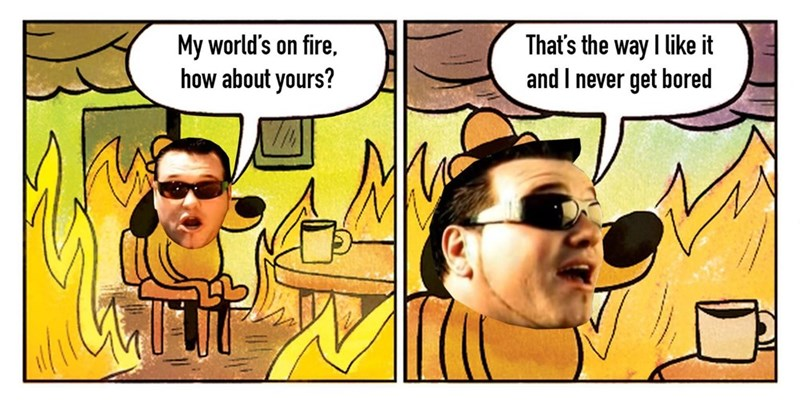 Cartoon - That's the way I like it and I never get bored My world's on fire. how about yours?