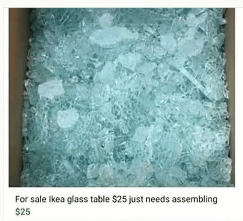 meme - Green - For sale Ikea glass table $25 just needs assembling $25
