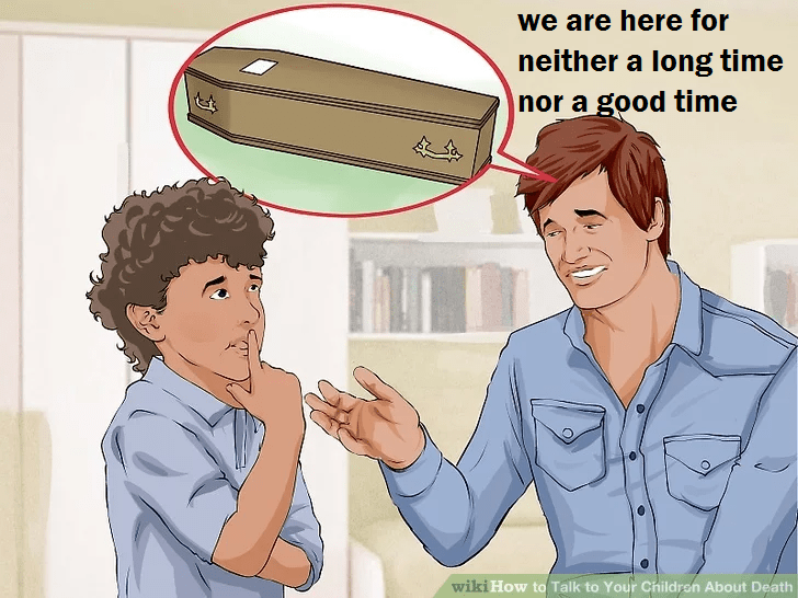wikihow meme - Cartoon - we are here for neither a long time nor a good time O wiki How to Talk to Your Childron About Death