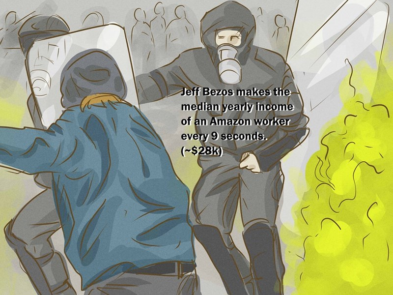 wikihow meme - Illustration - Jeff Bezos makes the median yearly income of an Amazon worker every 9 seconds. ($28K)