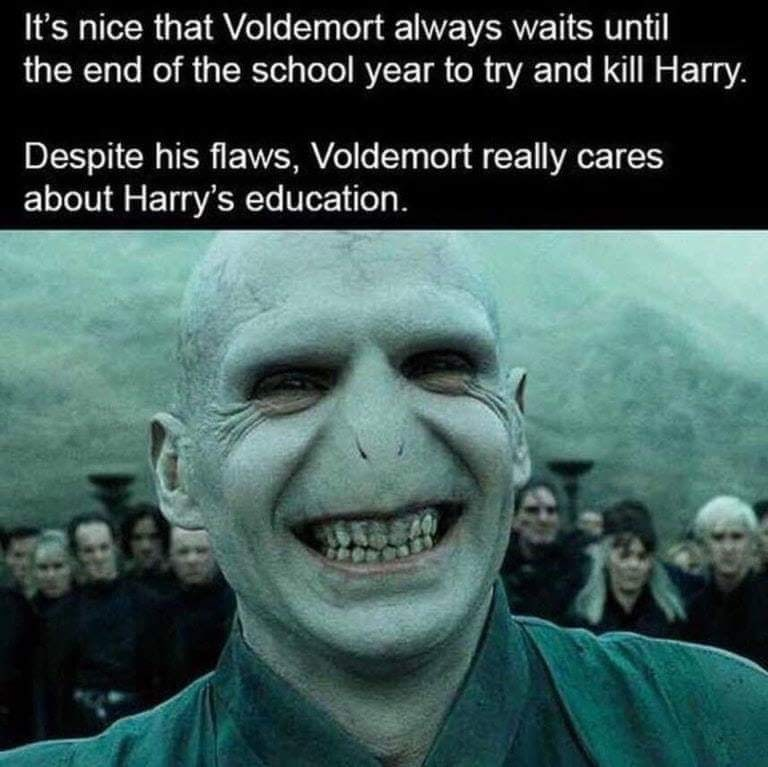 "Caption that reads, ""It's nice that Voldemort always waits until the end of the school year to try and kill Harry. Despite his flaws, Voldemort really cares about Harry's education"" above a pic of Voldemort"