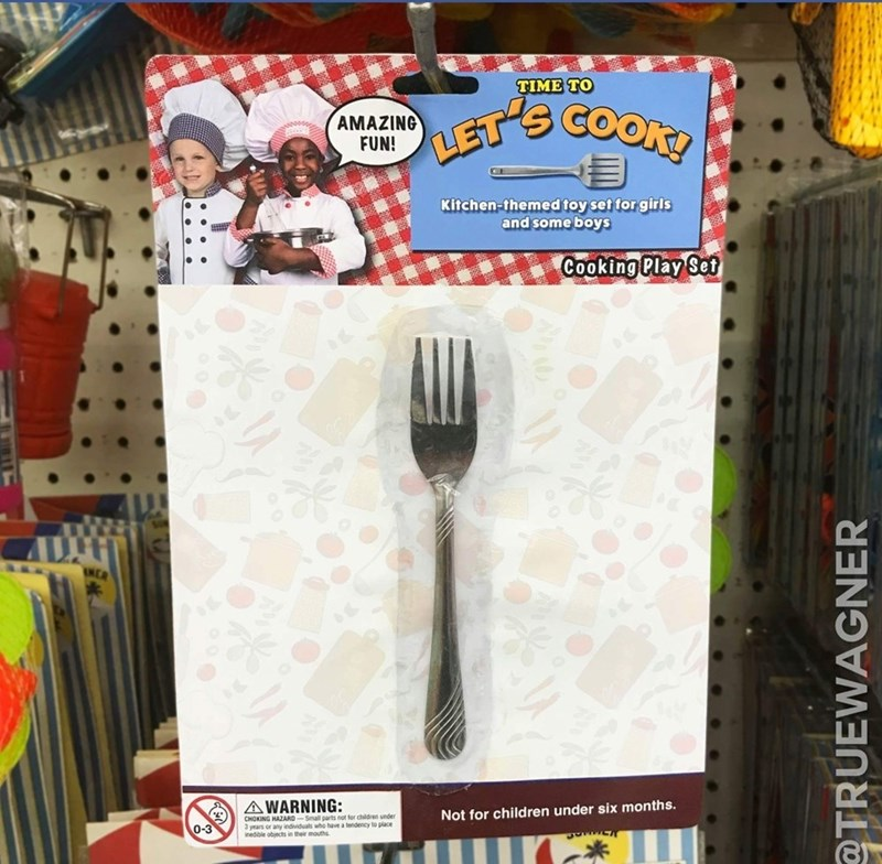 """Product labeled """"Time to Let's Cook"""" that is just one fork in some packaging"""