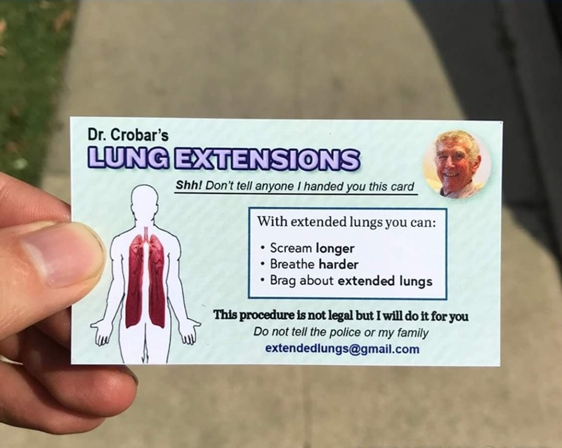 Business card advertising 'Dr. Crobar's lung extensions'