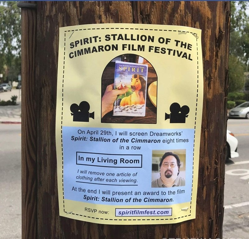 Tree - STALLION OF THE SPIRIT: CIMMARON FILM FESTIVAL SPIRIT rere Two Thumbs Up On April 29th, I will screen Dreamworks' Spirit: Stallion of the Cimmaron eight times in a row In my Living Room I will remove one article of clothing after each viewing. At the end I will present an award to the film Spirit: Stallion of the Cimmaron. RSVP now: spiritfilmfest.com