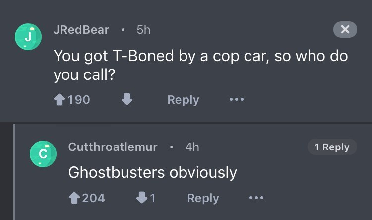 Text - 5h JRedBear X J You got T-Boned by a cop car, so who do you call? Reply 190 Cutthroatlemur 4h 1 Reply Ghostbusters obviously Reply 204