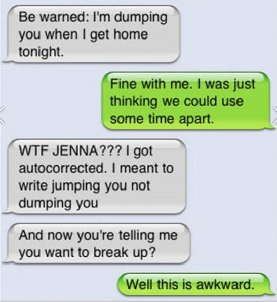 chat between couple breaking up over auto corrected text