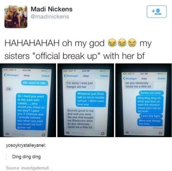cringey breakup texts between middle schoolers