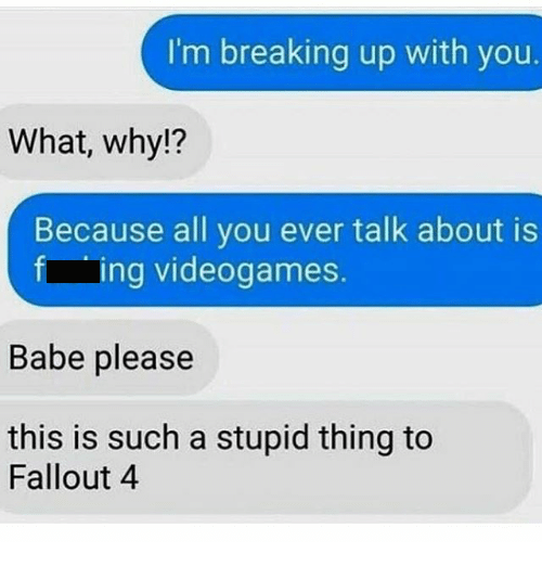 texts between couple during breakup with guy making a gaming pun