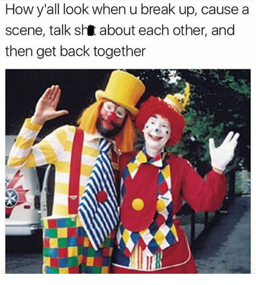 picture of two clowns posing together representing a couple that had a bad breakup then got back together