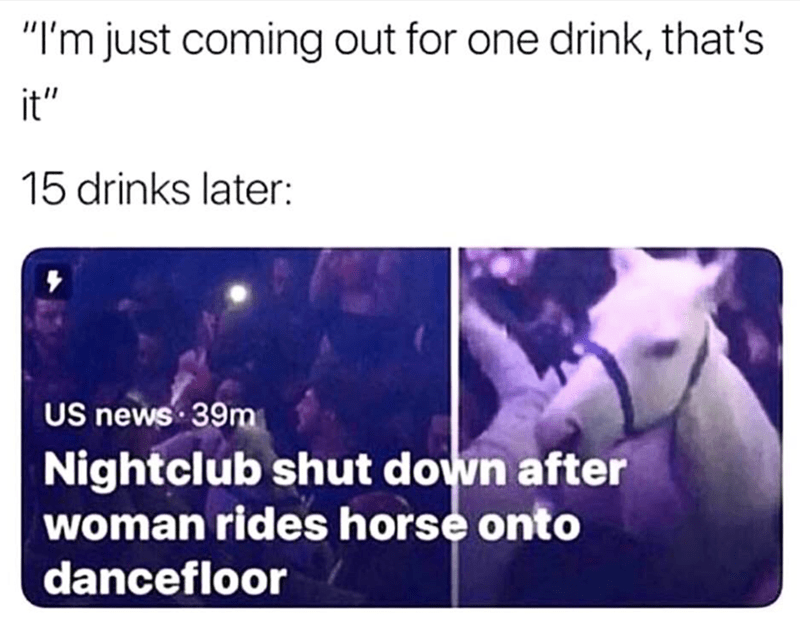 """Text - """"I'm just coming out for one drink, that's it"""" 15 drinks later: US news 39m Nightclub shut down after woman rides horse onto dancefloor"""