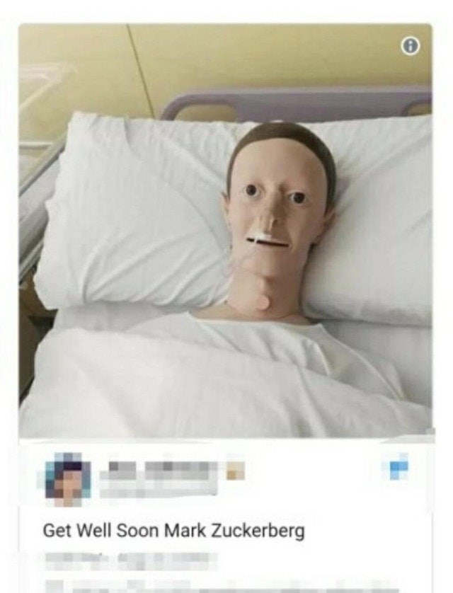 Funny meme about Mark Zuckerberg looking like a crash test dummy in the hospital.