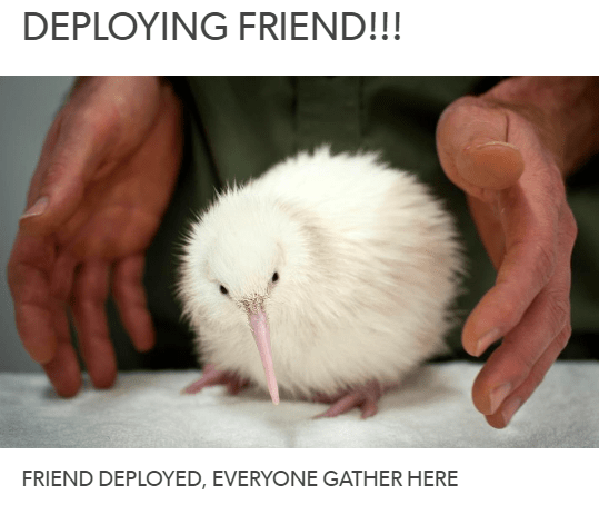 Photo caption - DEPLOYING FRIEND!!! FRIEND DEPLOYED, EVERYONE GATHER HERE