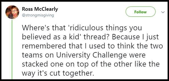 Original tweet asking people to share the weird things they believed when they were kids