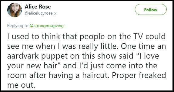 """Text - Alice Rose Follow @alicelucyrose_x Replying to@strongmisgiving I used to think that people on the TV could see me when I was really little. One time an aardvark puppet on this show said """"I love your new hair"""" and l'd just come into the room after having a haircut. Proper freaked me out."""