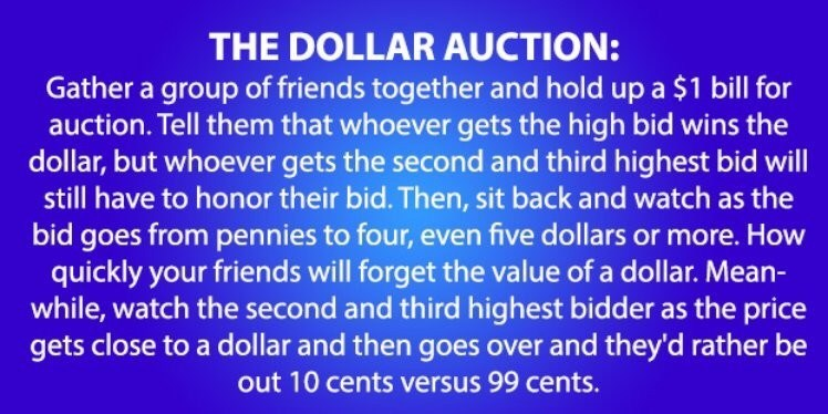 Text - THE DOLLAR AUCTION: Gather a group of friends together and hold up a $1 bill for auction. Tell them that whoever gets the high bid wins the dollar, but whoever gets the second and third highest bid will still have to honor their bid. Then, sit back and watch as the bid goes from pennies to four, even five dollars or more. How quickly your friends will forget the value of a dollar. Mean- while, watch the second and third highest bidder as the price gets close to a dollar and then goes over