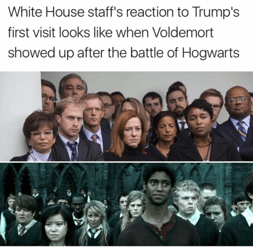 People - White House staff's reaction to Trump's first visit looks like when Voldemort showed up after the battle of Hogwarts