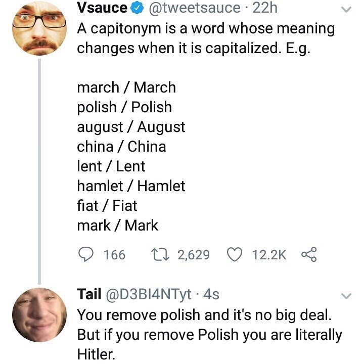 Text - @tweetsauce 22h A capitonym is a word whose meaning changes when it is capitalized. E.g Vsauce march March polish Polish august August china China lent Lent hamlet Hamlet fiat Fiat mark Mark t 2,629 166 12.2K Tail @D3B14NTyt 4s You remove polish and it's no big deal But if you remove Polish you are literally Hitler