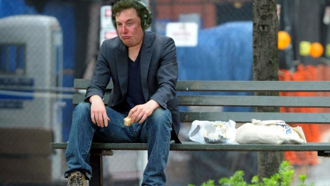 Stoned Elon Musk photoshopped onto a sad guy sitting on a bench
