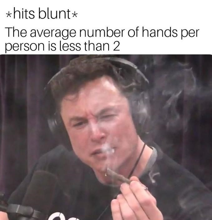 "Stoned Elon Musk saying, ""*Hits blunt* The average number of hands per person is less than two"""