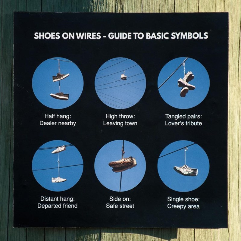SHOES ON WIRES GUIDE TO BASIC SYMBOLS High throw: Leaving town Half hang: Dealer nearby Tangled pairs: Lover's tribute Single shoe: Creepy area Distant hang: Side on: Departed friend Safe street