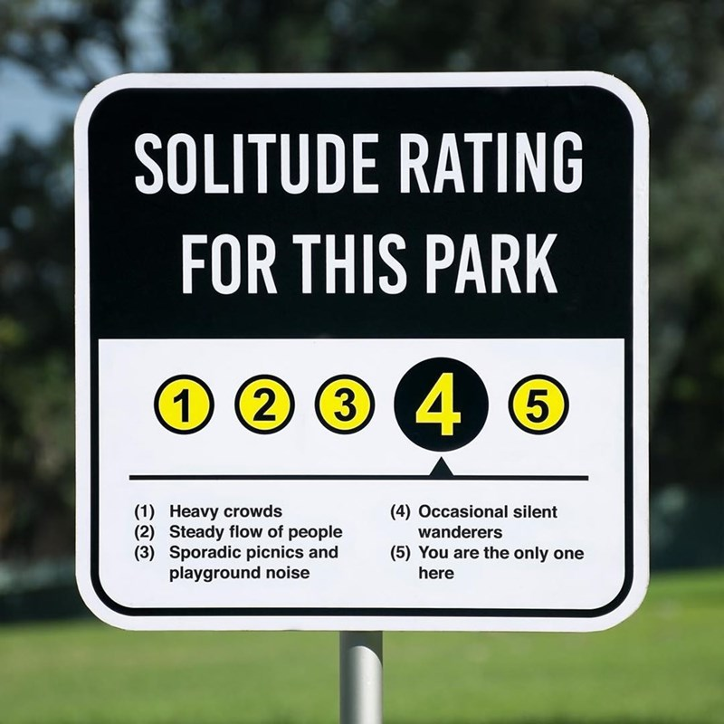 Signage - SOLITUDE RATING FOR THIS PARK 1 2 3 4 6 (1) Heavy crowds (2) Steady flow of people (3) Sporadic picnics and playground noise (4) Occasional silent wanderers (5) You are the only one here