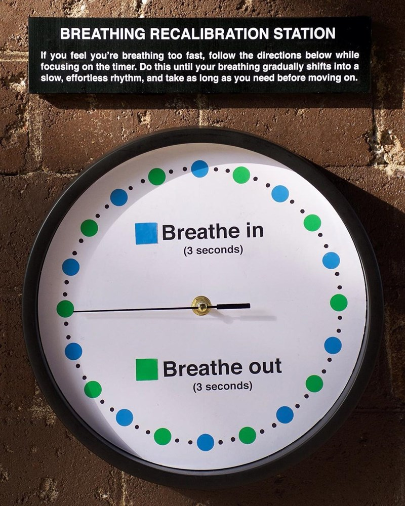 Text - BREATHING RECALIBRATION STATION If you feel you're breathing too fast, follow the directions below while focusing on the timer. Do this until your breathing gradually shifts into a slow, effortless rhythm, and take as long as you need before moving on. Breathe in (3 seconds) Breathe out (3 seconds)