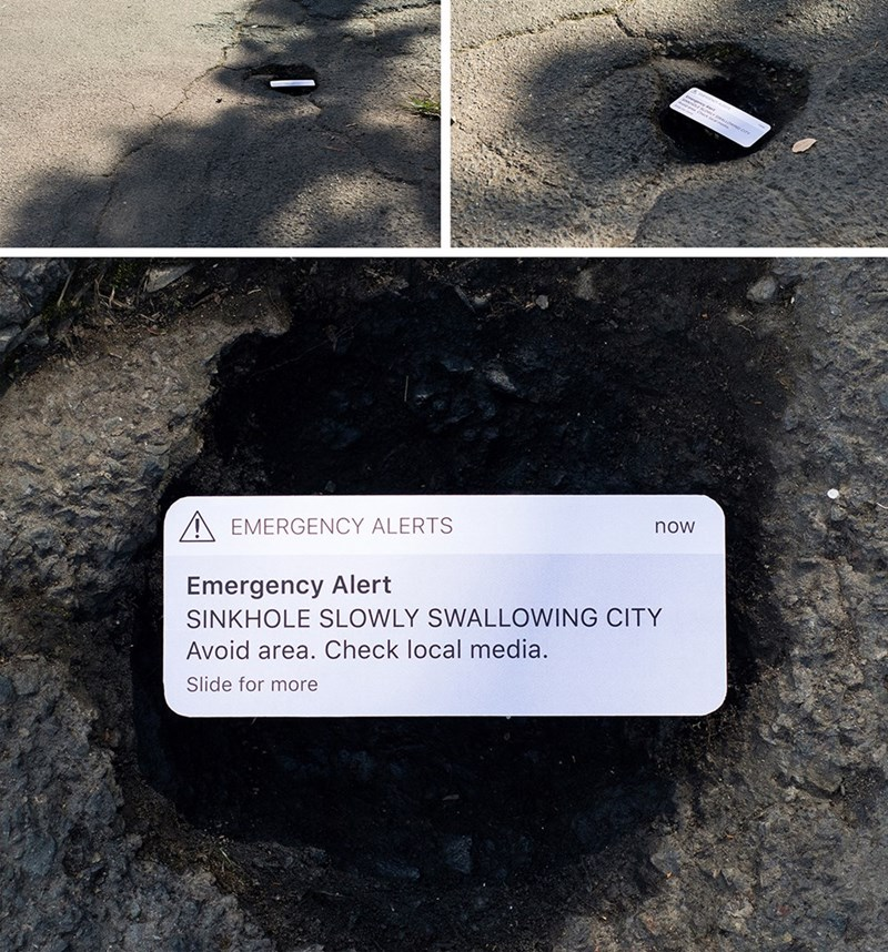 Text - EMERGENCY ALERTS now Emergency Alert SINKHOLE SLOWLY SWALLOWING CITY Avoid area. Check local media. Slide for more