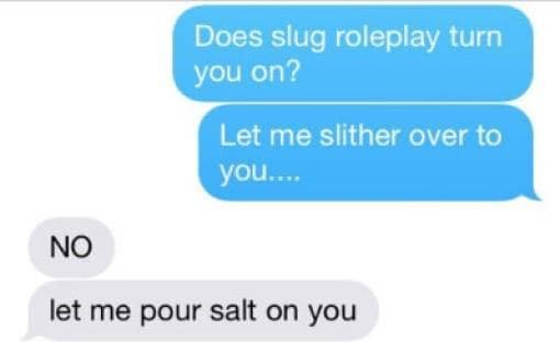 Text - Does slug roleplay turn you on? Let me slither over to you.... NO let me pour salt on you