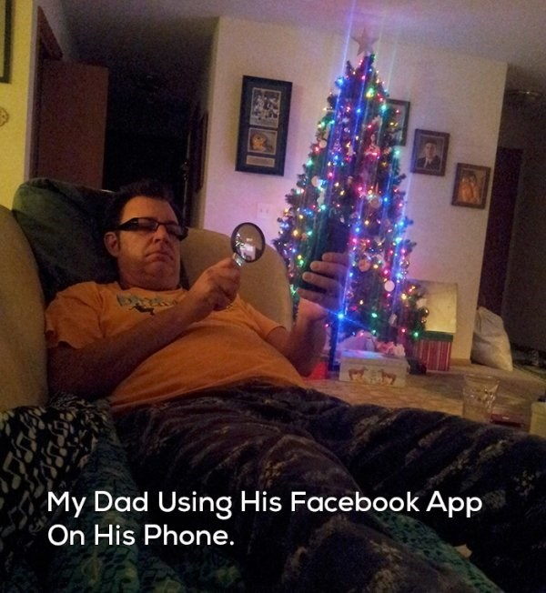 Christmas tree - My Dad Using His Facebook App On His Phone.